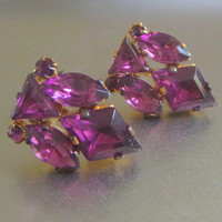Purple Earrings, Czech, Vintage, Deep Amethyst Rhinestone Crystals & Gilt Brass Clusters, Signed Czechoslov, Art Deco Era