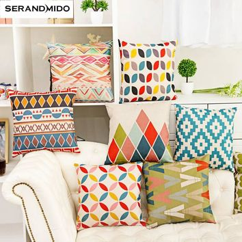 Velvet Fabric Geometric Design Printed Cushion Cover 0945-02