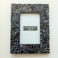 Mosaic Picture Frame  5 x7  Black Blue Brown by GreenStreetMosaics