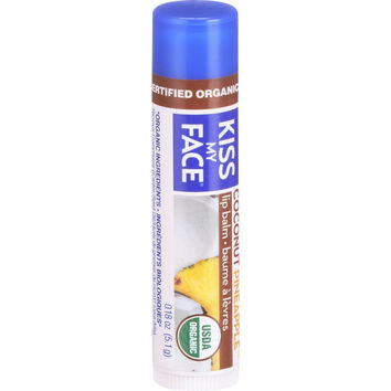 Kiss My Face Organic Lip Balm - Coconut Pineapple - .18 oz - Case of 24