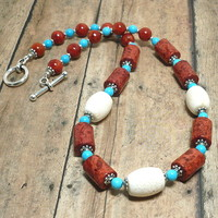 Red and White Sponge Coral and Turquoise Handmade Gemstone Necklace