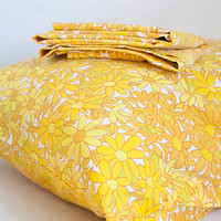"1960s ""Penn-Prest"" Orange Yellow Flower Print Pillow Cases, Vintage Percale Pillowcases Bedding, Cotton Polyester Blend"