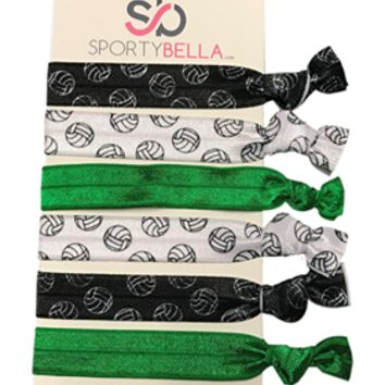 Girls Volleyball Hair Ties -Green