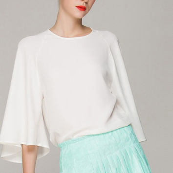 White Angel Sleeve Chiffon Top