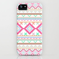 Pink teal Aztec Tribal Diamond geometric Pattern iPhone Case by Girly Trend | Society6