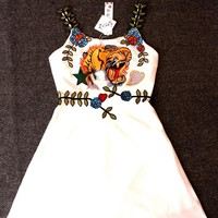 Tiger Dress Straps Short Dress With Long Dress Embroidery Dress