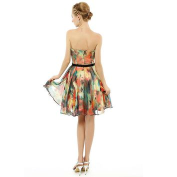 Floral Print Chiffon Dress Knee length Short Flower Party Gowns