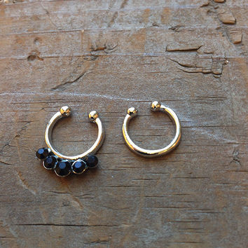 Black Rhinestone Faux Septum Piercing Set, Silver Tiny Clip On Nose Ring