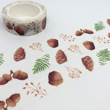 Pinecones tape 10M Pine nuts washi tape Chestnut pine tree plant deco sticker tape lovely tape planner accessories scrapbook diary gift