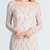 Taupe Illusion Long Sleeves Short Fitted Party Dress