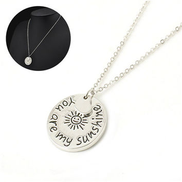 """s Women Jewelry Women """"you are my sunshine"""" Letter Pendant Necklace Women Love Gifts  SM6"""