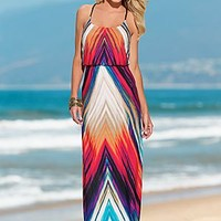 Coral Multi (COMU) Printed Maxi Dress