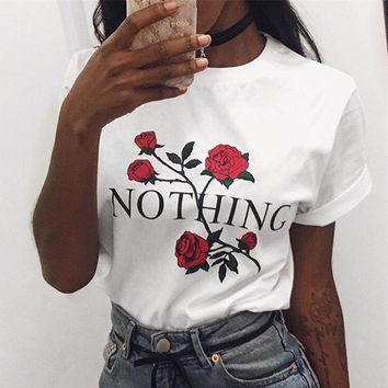 Fashion Retro Loose Casual Roses Flower Letter Print Round Neck Short Sleeve Female Cotton T-shirt