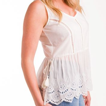 Apple of My Eyelet Peplum Tank