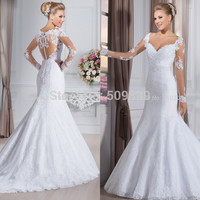 Vestido de noiva Sexy Back Mermaid Wedding Dresses Long Sleeves Lace Wedding Dress 2016 Robe de Mariage Casamento Wedding Gowns