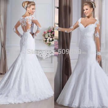 Vestido de noiva See Through Back Mermaid Wedding Dresses Long Sleeves Lace Wedding Dress  vestido de casamento Wedding Gown