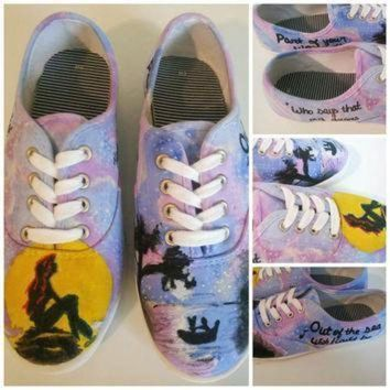 f05e047717d4 CREYON little mermaid custom painted shoes ariel disney hand painted shoes  vans converse