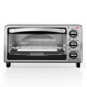 BLACK+DECKER TO1313SBD 4-Slice Toaster Oven Includes Bake Pan Broil Rack & Toasting Rack Stainless Steel/Black Toaster Oven