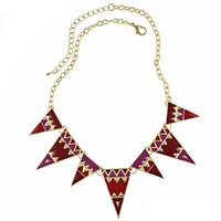 Vintage Fashion Tribal Enameling Triangle Pendant Link Chain Necklace