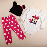 3pcs Baby Boy Girls Kids Clothes Sets Cartoon Minnie Newborn Infant Hat Bodysuit Rompers Outfit Clothing Set 3 6 9 12 18 Monthes