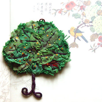 Textile tree ornament in green by BozenaWojtaszek on Etsy