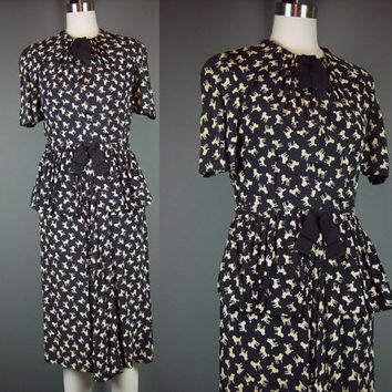 40s Novelty Print Dress Poodle Vintage 1940s Black Tan Rayon Swag Detail Short Sleeve S As Is