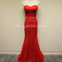 Mermaid Lace Prom dress Red prom dress red prom dress beading dress long prom dress Graduation Dresses Crystal Party Dresses Lace prom dress