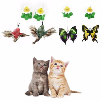Electric Rotating Colorful Butterfly Funny dog Cat Toys bird Pet Seat