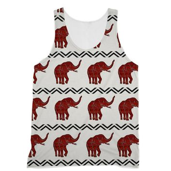 Red Aztec African Elephant Designs by Amitie Sublimation Vest