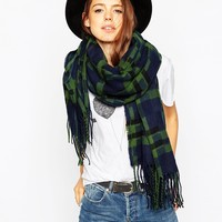 ASOS Oversized Scarf In Geo Check With Tassels
