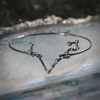 PISCES Sterling Silver bracelet - Oxidized constellation jewelry, perfect for Xmas gift, personalized jewelry under 50