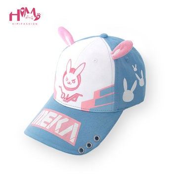 DVA Rabbit Ear Cute Baseball Cap Women Cartoon Printed Lady Hat Japanese Comic Hot Sale D.va Casual Fashion Cap Adjustable