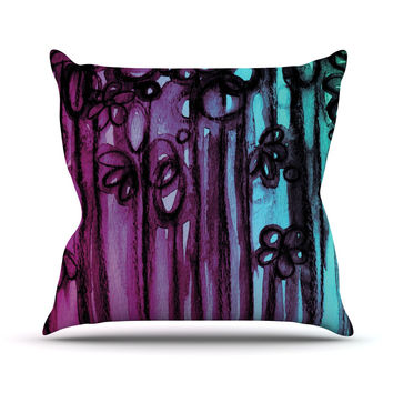 "Ebi Emporium ""Winter Garden - Ombre"" Purple Teal Throw Pillow"