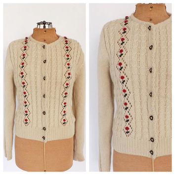 Vintage Oatmeal Knit Sweater Retro Cream Knit Cardigan Sweater Fall Rockabilly Cable Knit Rose Pattern Womens Cropped Button Up Sweater