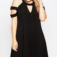 Plus Size Black Strappy Cut-out Shoulder Swing Dress