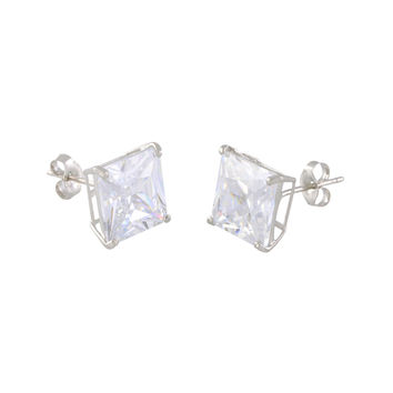14k White Gold Square CZ Cubic Zirconia Stud Earrings - Basket Setting