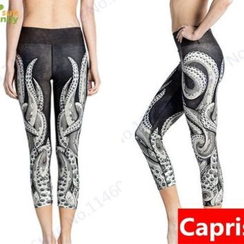 White Octopus Yoga Running Workout Capri Leggings Sexy Slim Gym Sports Crop Trousers Stretchy High Waist Fitness Tights Women's