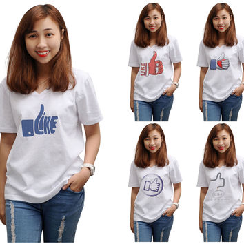 Women Like icons Printed V-neck Short Sleeve T-shirt WTS_16