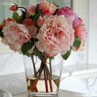 Peonies in Glass Vase 13 in. by Jane Seymour Botanicals
