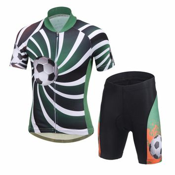 New Children Cycling Clothing Printed 3D Soccer Boys Bike Jersey Shorts with padded Ropa Ciclismo Summer Kids wielerkleding