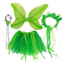 4 Piece Green Fairy Pixie Costume. Wings Tutu Halo Wand
