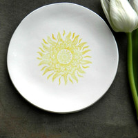 Sun Mandala White Porcelain Ring Dish, Yellow Sun Ceramic Plate Jewelry Dish geometric  Home Decor, Porcelain Trinket Dish