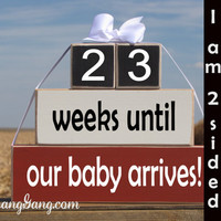 """Wood Stacking Countdown Gift Blocks. Pregnancy announcement -""""weeks until our baby arrives"""". Baby countdown. Baby Shower gift. Mother's Day"""