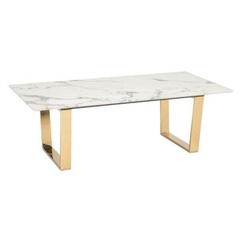 ZUO Modern Atlas Coffee Table Stone & Gold 100653 Living Coffee/Side/Consoles