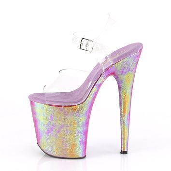 "Flamingo 808WR Pink Hologram Platform Sandals Shoe  8"" High Heels"