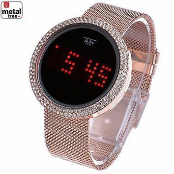 Jewelry Kay style Men's Techno Pave Digital Iced Out Touch Screen Mesh Metal Band Watch WM 8246 RG