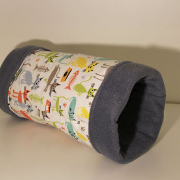 Hedgehog Tunnel, Guinea Pig Tube, Reinforced Rat Hidey, Fleece Ferret Toy - Multicolored Cats