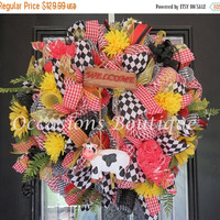 SUMMER SALE Summer Wreath, Wreath for Summer, Door Hanger, Housewarming Gift, Whimsical Wreath, Large Wreath, Front door Wreaths, Ready to s