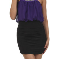 Beaded Cutout Halter Mini Dress - Purple