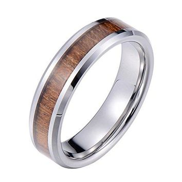 6mm Wedding Band Ring Tungsten Carbide Ring Real Koa Wood Inlay Beveled High Polisfed Edge